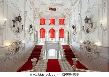 ST. PETERSBURG, RUSSIA - MARCH 17, 2016: The interior of the Catherine Palace in Tsarskoye Selo (Pushkin). It was the summer residence of the Russian tsars, now it is a famous museum