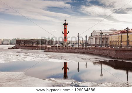 SAINT PETERSBURG, RUSSIA - MARCH 26, 2016: Spit of Vasilyevsky Island  is one of the main and most beautiful ensembles of St. Petersburg .