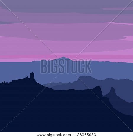 Illustrated Gran Canaria - sunset from Pico de Las Nieves Roque Nublo Roque Bentayga and Teide on Tenerife visible