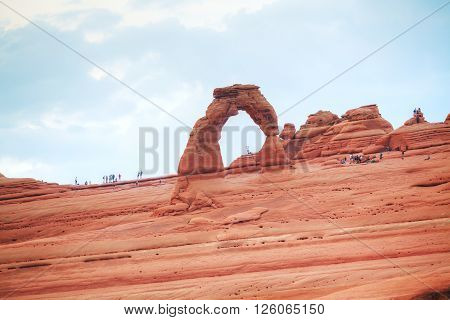 MOAB UT USA - AUGUST 22: Delicate Arch at the Arches National park on August 22 2015 near Moab UT USA.