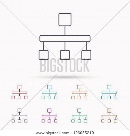 Hierarchy icon. Organization chart sign. Database symbol. Linear icons on white background.