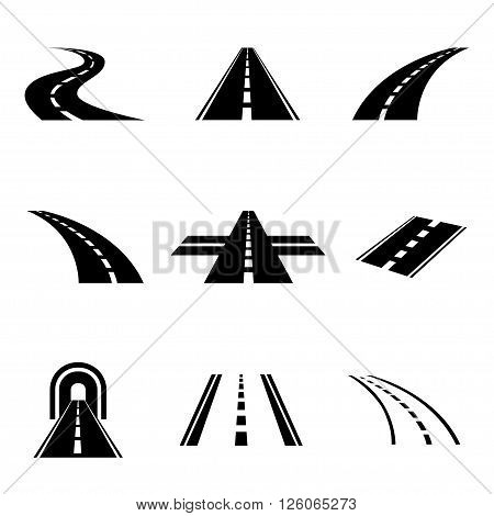 Vector black car road icons set. Highway symbols.