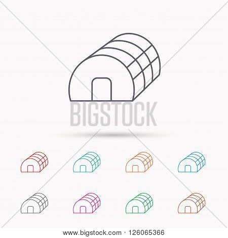 Greenhouse complex icon. Hothouse building sign. Warm house symbol. Linear icons on white background.