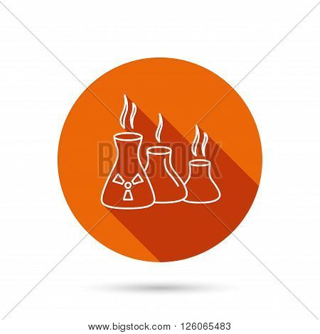 Industry building icon. Manufacturing sign. Chemical toxic production symbol. Round orange web button with shadow.