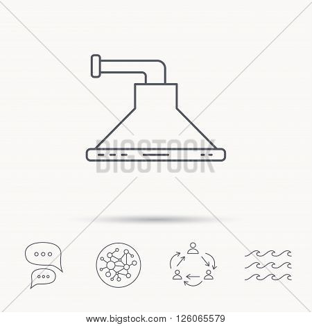 Kitchen hood icon. Kitchenware equipment sign. Global connect network, ocean wave and chat dialog icons. Teamwork symbol.