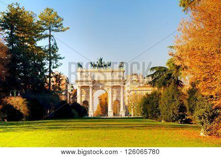 Arch of Peace (Porta Sempione) in Milan Italy
