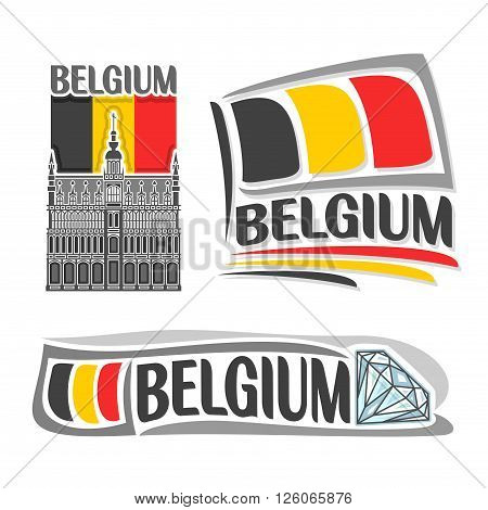 Vector illustration of the logo for Belgium, consisting of 3 isolated illustrations: national flag behind King's House in Brussels, horizontal symbol of Belgium and the flag on background of diamond