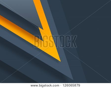 Modern material design template. Material design trendy background. Geometric shapes and natural colors balance. Realistic abstract technology. Dark blue color orange scheme