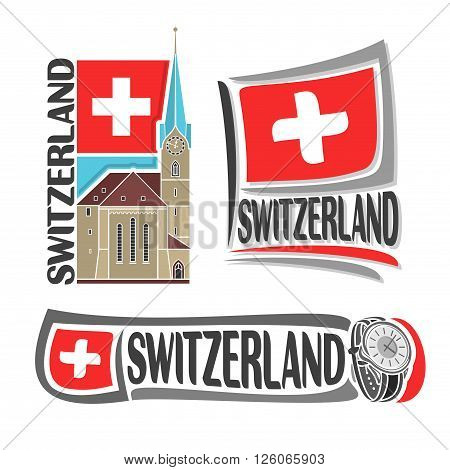 Vector logo for Switzerland, consisting of 3 isolated illustrations: Fraumunster Church in Zurich on background of national state flag, symbol of Switzerland and swiss flag beside watch close-up