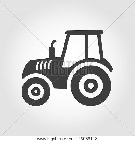 Vector balck tractor icon on grey background. Farmer machine icon