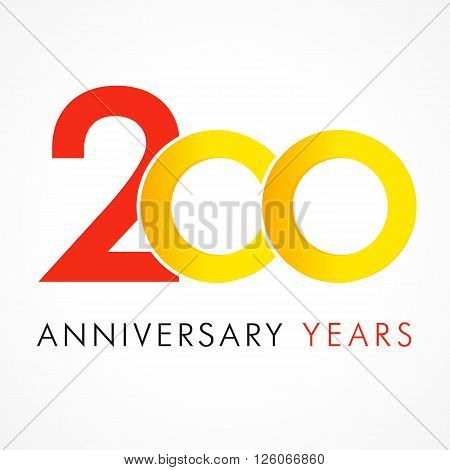 Template logo 200th anniversary with a circle in the form of a infinity and the number 2. 200 circle anniversary logo