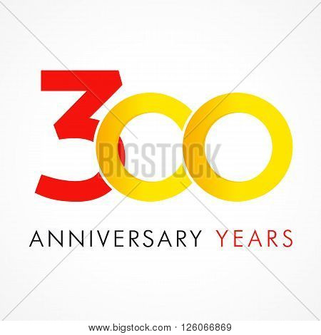 300 circle anniversary logo. Template logo 300th anniversary with a circle in the form of a infinity and the number 3