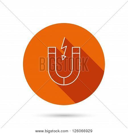 Magnet icon. Magnetic power sign. Physics symbol. Round orange web button with shadow.