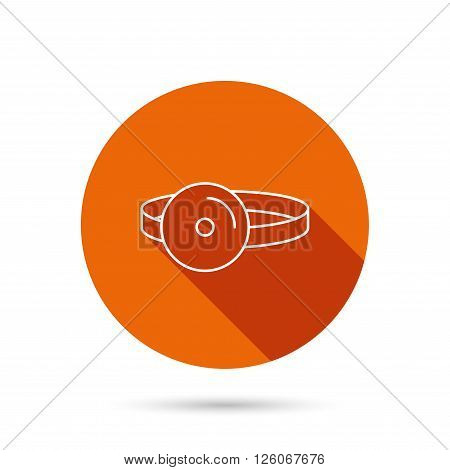 Medical mirror icon. ORL medicine sign. Otorhinolaryngology diagnosis tool symbol. Round orange web button with shadow.