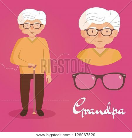 EElderly man with glasses and a cane. Vector isolated illustration. Cartoon character.