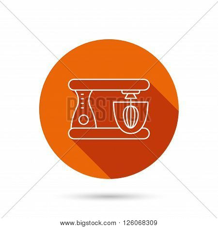 Mixer icon. Electric blender sign. Round orange web button with shadow.