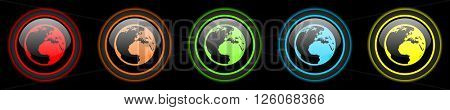 earth colored web icons set on black background