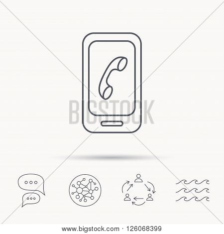 Smartphone icon. Cellphone with touchscreen sign. Global connect network, ocean wave and chat dialog icons. Teamwork symbol.