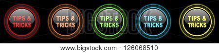 tips tricks colored web icons set on black background