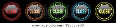 close colored web icons set on black background