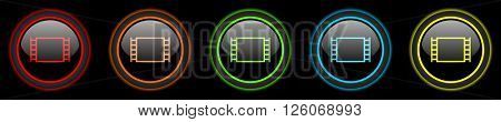 movie colored web icons set on black background