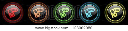 sms colored web icons set on black background