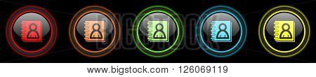 address book colored web icons set on black background