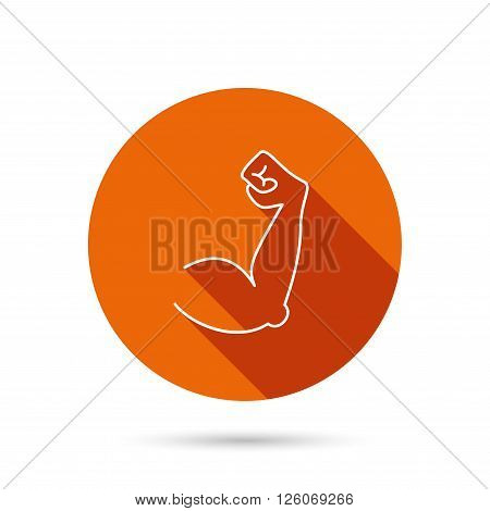 Biceps muscle icon. Bodybuilder strong arm sign. Weightlifting fitness symbol. Round orange web button with shadow.