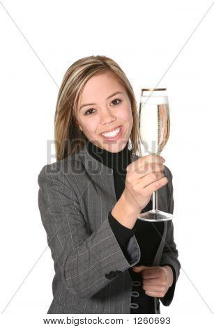 Business Woman With Champagne