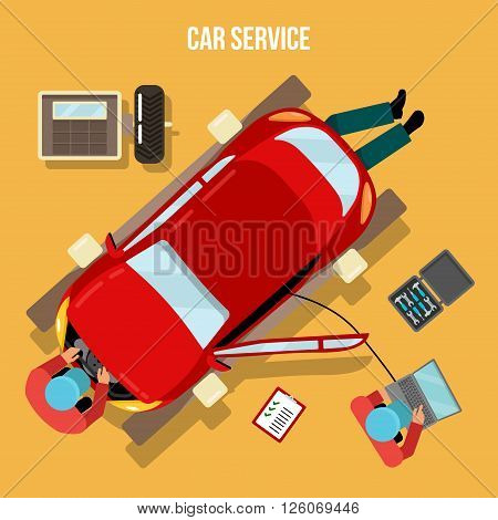Car Service - Repairs and Diagnostics. Auto Maintanence. Vector illustration