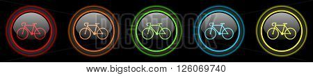 bicycle colored web icons set on black background
