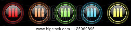 ammunition colored web icons set on black background
