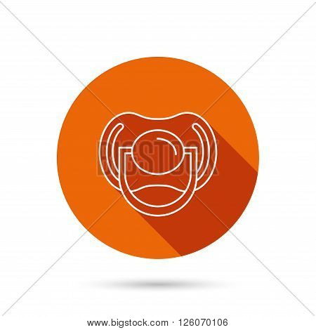 Pacifier icon. Nipple or dummy sign. Newborn child relax equipment symbol. Round orange web button with shadow.