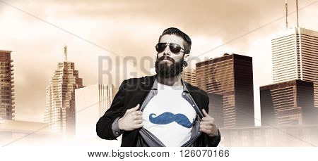 young hipster superhero oversees around capital city