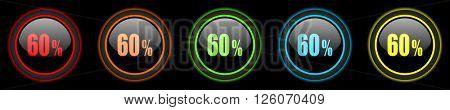 60 percent colored web icons set on black background