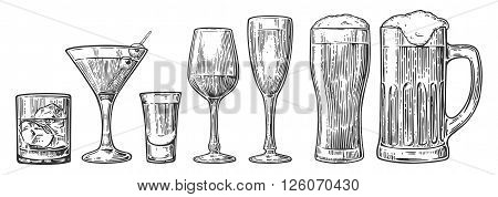 Set glass beer whiskey wine tequila cognac champagne cocktails. Vector engraved vintage illustration isolated on white background.