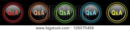 question answer colored web icons set on black background