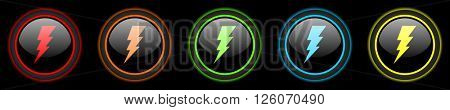 bolt colored web icons set on black background