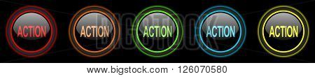 action colored web icons set on black background