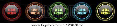 legal advice colored web icons set on black background