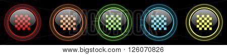 chess colored web icons set on black background