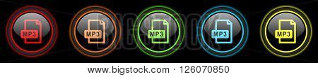 mp3 file colored web icons set on black background