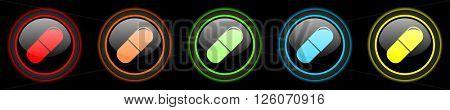 drugs colored web icons set on black background