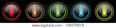 battery colored web icons set on black background