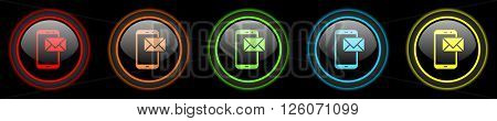 mail colored web icons set on black background