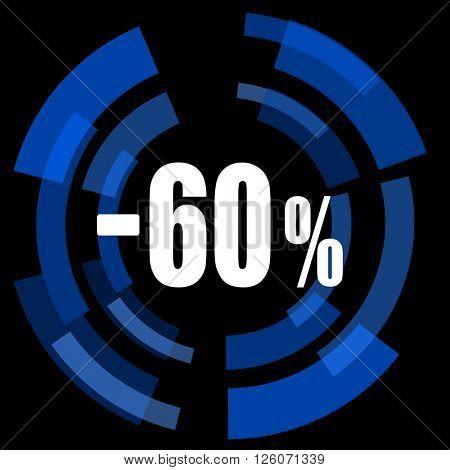 60 percent sale retail black background simple web icon