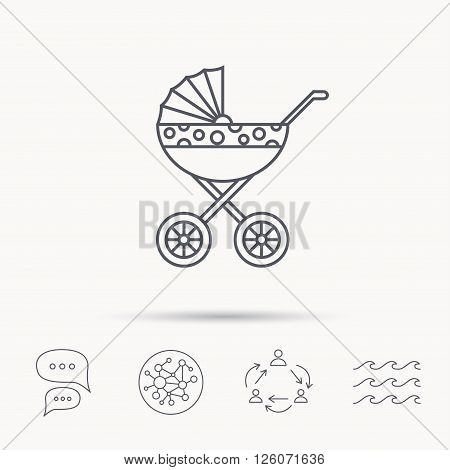 Pram icon. Newborn stroller sign. Child buggy transportation symbol. Global connect network, ocean wave and chat dialog icons. Teamwork symbol.
