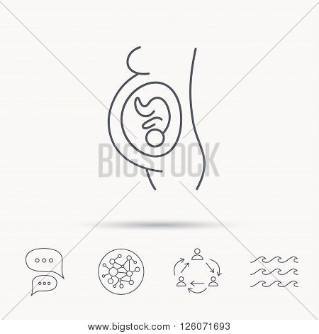 Pregnancy icon. Medical genecology sign. Obstetrics symbol. Global connect network, ocean wave and chat dialog icons. Teamwork symbol.
