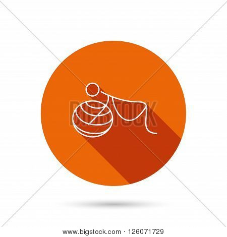 Gymnastic for pregnant icon. Pilates fitness sign. Sport workout symbol. Round orange web button with shadow.