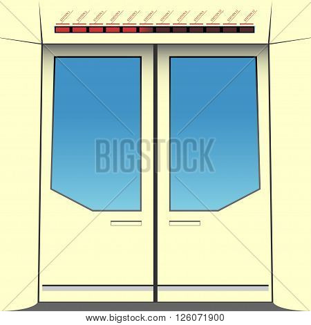 Doors of subway train. Vector illustration. EPS 10 opacity